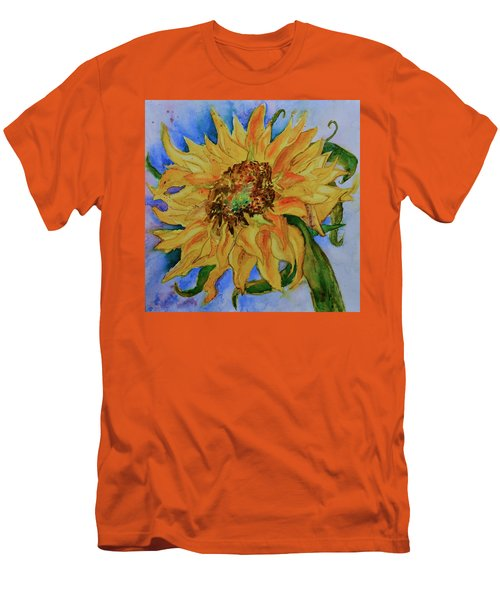 Men's T-Shirt (Slim Fit) featuring the painting This Here Sunflower by Beverley Harper Tinsley
