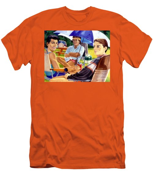 Three Friends Camping Men's T-Shirt (Athletic Fit)