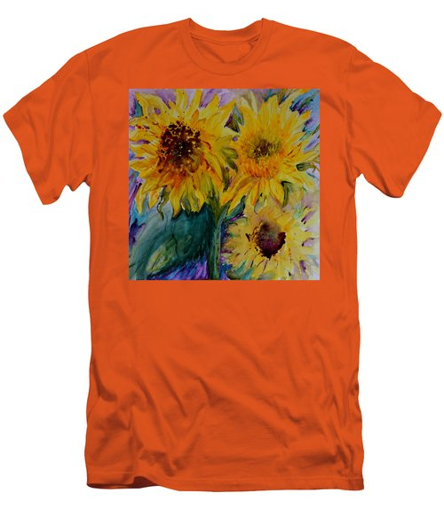 Men's T-Shirt (Slim Fit) featuring the painting Three Sunflowers by Beverley Harper Tinsley