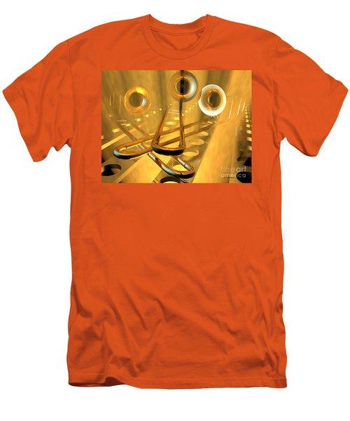 Three Trombones Men's T-Shirt (Slim Fit) by R Muirhead Art