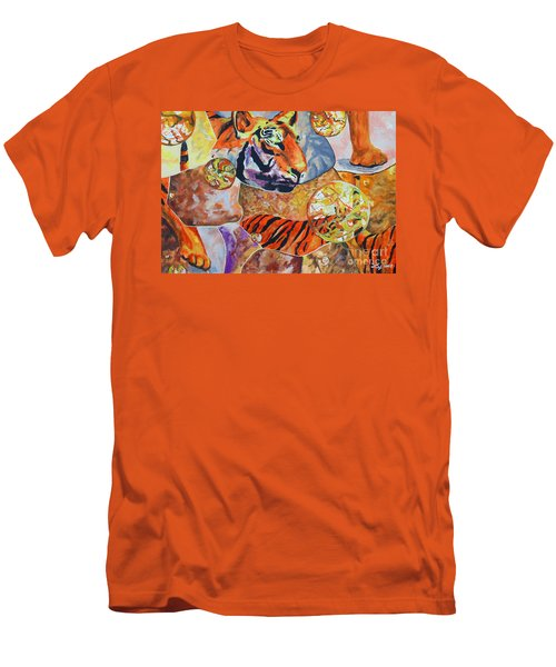 Men's T-Shirt (Slim Fit) featuring the painting Tiger Mosaic by Daniel Janda