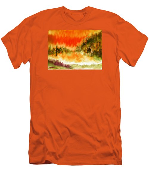 Men's T-Shirt (Slim Fit) featuring the mixed media Timber Blaze by Seth Weaver