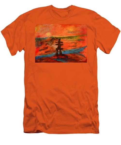 Men's T-Shirt (Slim Fit) featuring the painting Top Of The World by Sher Nasser