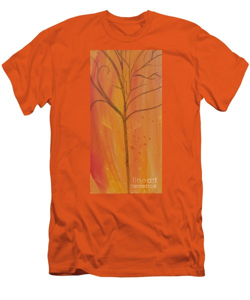 Men's T-Shirt (Slim Fit) featuring the painting Tree Of Three Coral by Robin Maria Pedrero