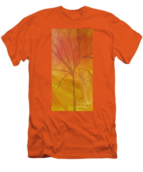 Men's T-Shirt (Slim Fit) featuring the painting Tree Of Three Gold by Robin Maria Pedrero