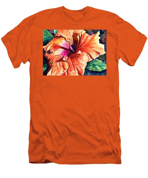 Men's T-Shirt (Slim Fit) featuring the painting Tropical Hibiscus by Marionette Taboniar