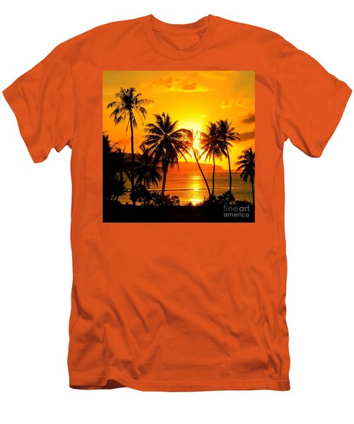 Tropical Sunset Men's T-Shirt (Slim Fit) by Scott Cameron
