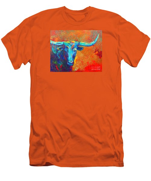 Turquoise Longhorn Men's T-Shirt (Slim Fit) by Karen Kennedy Chatham