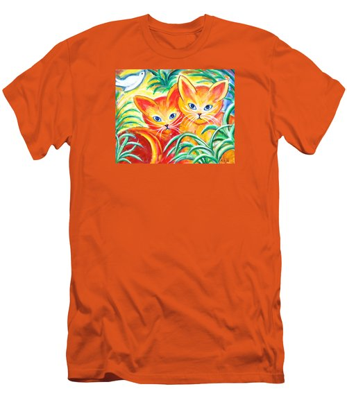 Men's T-Shirt (Slim Fit) featuring the painting Two Cats by Anya Heller