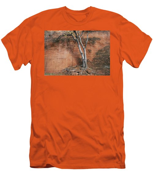 White Tree And Red Rock Face Men's T-Shirt (Slim Fit)