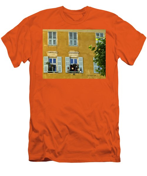 Men's T-Shirt (Slim Fit) featuring the photograph Windowboxes In Nice France by Allen Sheffield