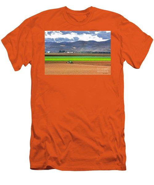 Winter Farm In California Men's T-Shirt (Slim Fit) by Susan Wiedmann