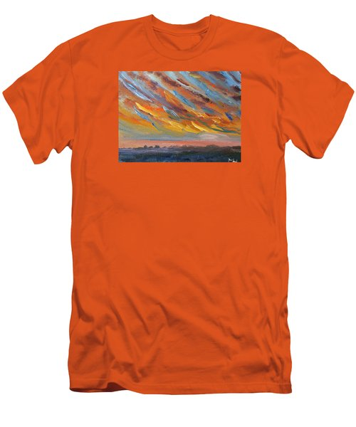 Winter Sunrise Over Provincetown Men's T-Shirt (Slim Fit) by Michael Helfen