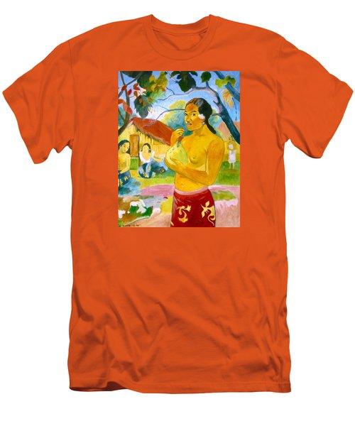 Woman Holding Fruit Men's T-Shirt (Slim Fit) by Henryk Gorecki