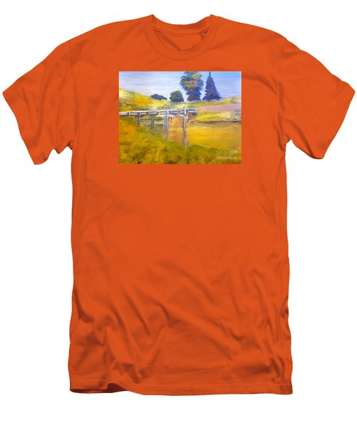 Men's T-Shirt (Slim Fit) featuring the painting Wooden Bridge At Graften by Pamela  Meredith