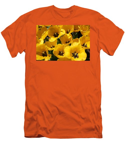 Men's T-Shirt (Slim Fit) featuring the photograph Golden Tulips In Full Bloom by Dora Sofia Caputo Photographic Art and Design