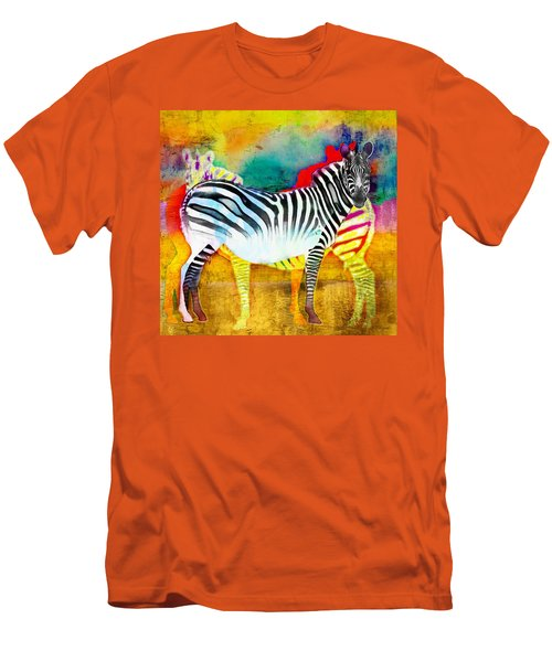 Zebra Colors Of Africa Men's T-Shirt (Slim Fit) by Barbara Chichester