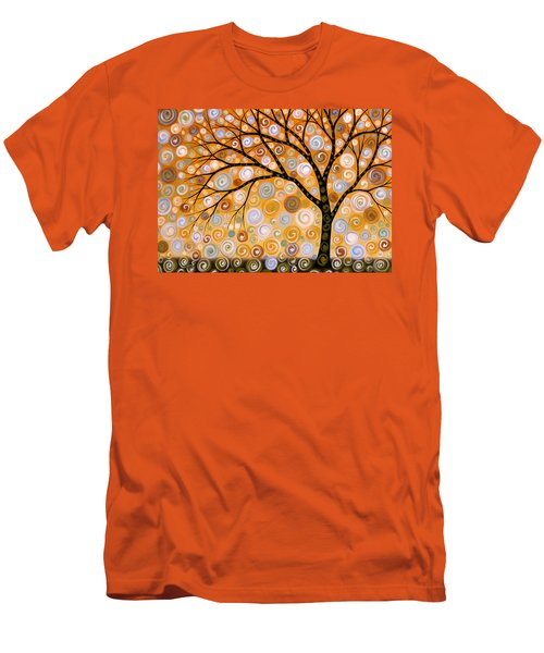 Abstract Modern Tree Landscape Dreams Of Gold By Amy Giacomelli Men's T-Shirt (Slim Fit) by Amy Giacomelli