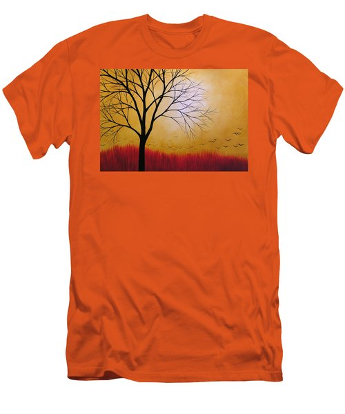 Abstract Original Tree Painting Summers Anticipation By Amy Giacomelli Men's T-Shirt (Slim Fit) by Amy Giacomelli