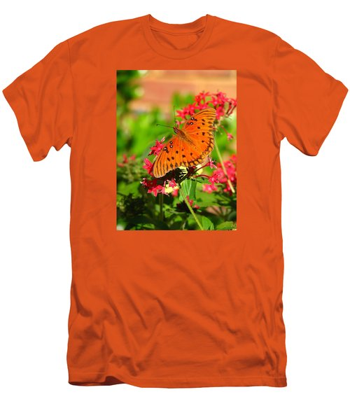 Butterfly On Pentas Men's T-Shirt (Slim Fit) by Carla Parris