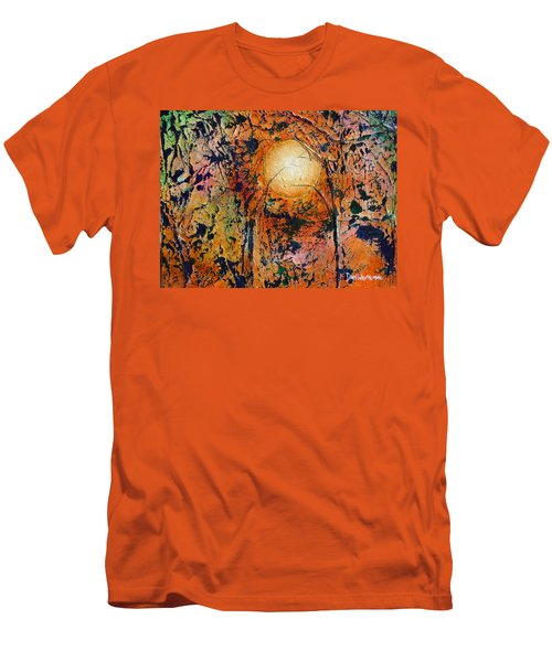 Men's T-Shirt (Slim Fit) featuring the painting Copper Moon by Dan Whittemore