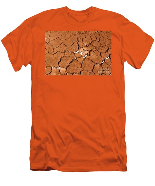 Men's T-Shirt (Slim Fit) featuring the photograph Cracked Red Soil  by Les Palenik