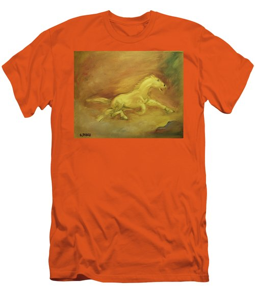 Men's T-Shirt (Slim Fit) featuring the painting Escaping The Flames by George Pedro