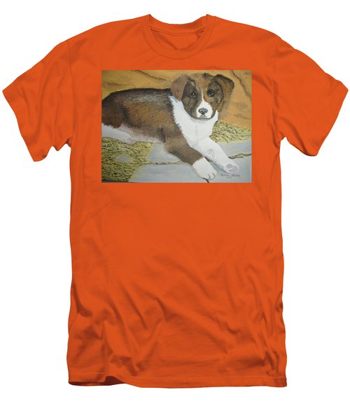 Men's T-Shirt (Slim Fit) featuring the painting Fat Puppy by Norm Starks