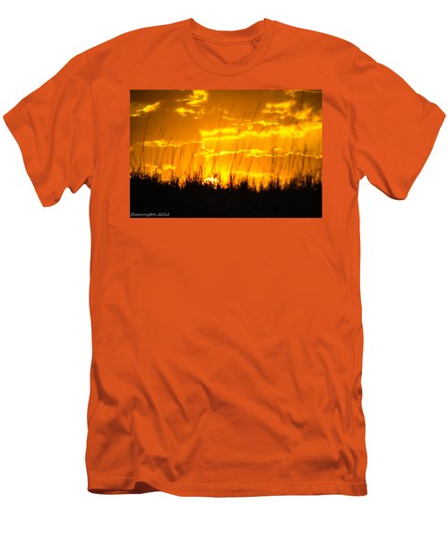Men's T-Shirt (Slim Fit) featuring the photograph Firey Sunset by Shannon Harrington
