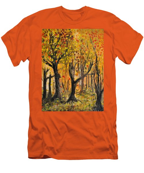 Men's T-Shirt (Slim Fit) featuring the painting Foliage by Evelina Popilian