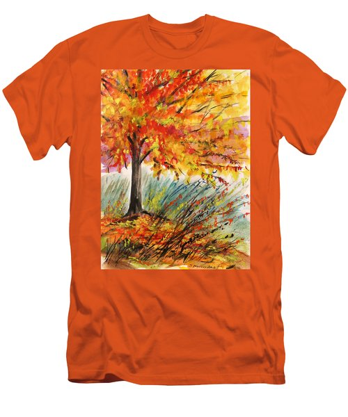 Men's T-Shirt (Slim Fit) featuring the painting Gold On A Blue Day by John Williams