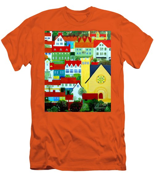 Hillside Village Men's T-Shirt (Slim Fit) by Barbara Moignard