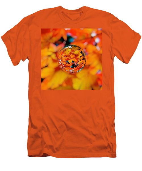 Marbled Orange Maple Leaves Men's T-Shirt (Athletic Fit)