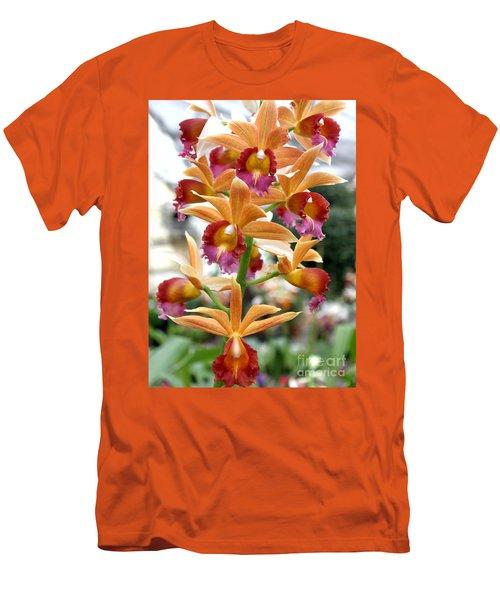 Men's T-Shirt (Slim Fit) featuring the photograph Orange Orchids by Debbie Hart
