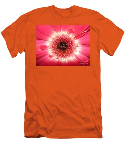 Men's T-Shirt (Slim Fit) featuring the photograph Pink Gerbera Daisy Close-up by Kerri Mortenson
