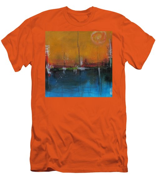 Sunset At The Lake # 2 Men's T-Shirt (Slim Fit) by Nicole Nadeau