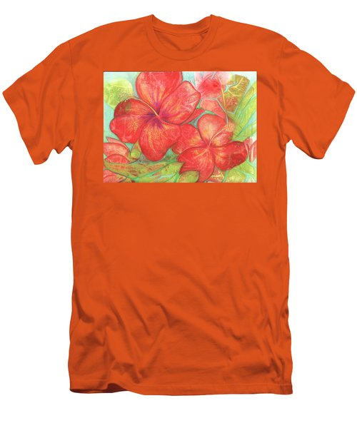 Two Hibiscus Blossoms Men's T-Shirt (Slim Fit) by Carla Parris