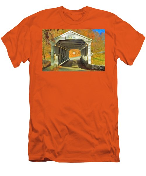 Men's T-Shirt (Slim Fit) featuring the photograph  Covered Bridge Watercolor  by David Zanzinger