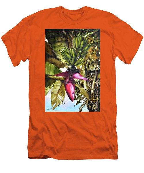 Men's T-Shirt (Slim Fit) featuring the painting Banana Tree by Chonkhet Phanwichien
