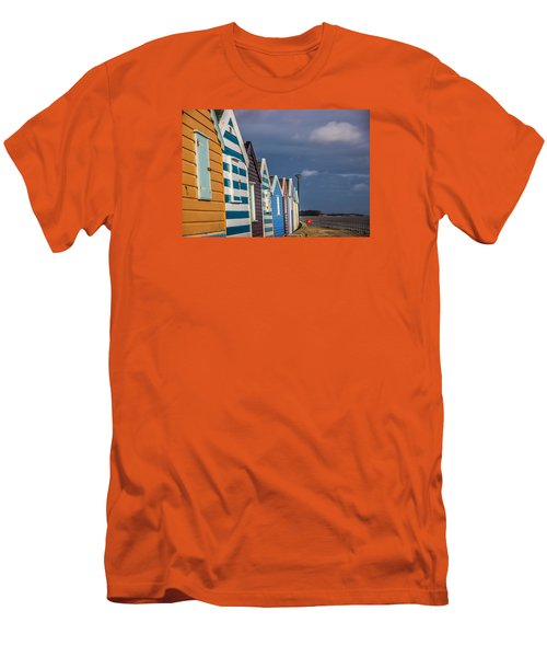 Beach Huts Men's T-Shirt (Slim Fit) by David Warrington