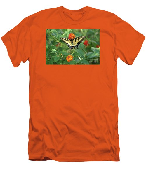 Men's T-Shirt (Athletic Fit) featuring the photograph Butterfly And Flower by Debra Crank