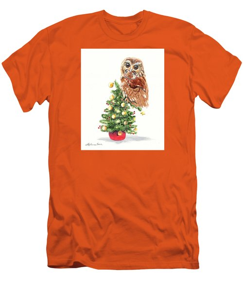 Christmas Owl Men's T-Shirt (Slim Fit) by LeAnne Sowa