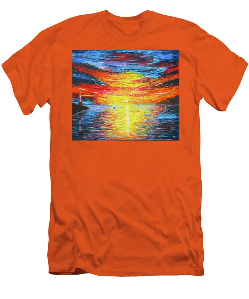 Men's T-Shirt (Athletic Fit) featuring the painting  Lighthouse Sunset Ocean View Palette Knife Original Painting by Georgeta Blanaru
