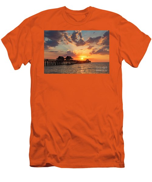 Men's T-Shirt (Slim Fit) featuring the photograph Naples Pier At Sunset by Brian Jannsen