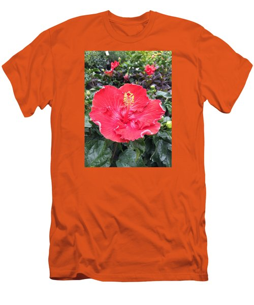 Men's T-Shirt (Slim Fit) featuring the photograph Red Hibiscus by Kay Gilley