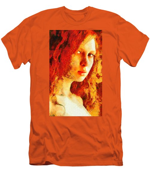 Men's T-Shirt (Slim Fit) featuring the digital art Redhead by Gun Legler