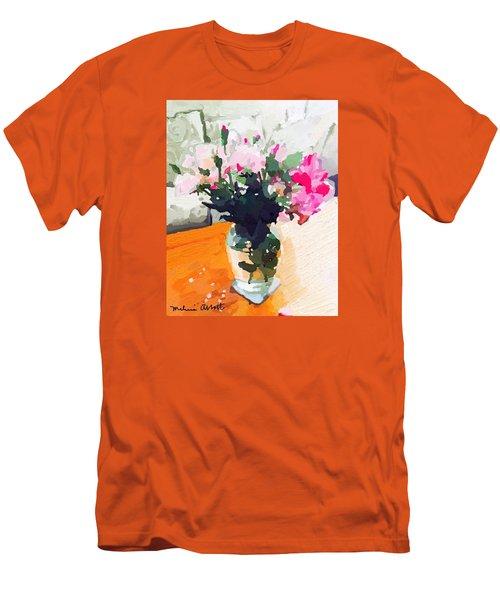 Roses In The Living Room Men's T-Shirt (Slim Fit) by Melissa Abbott