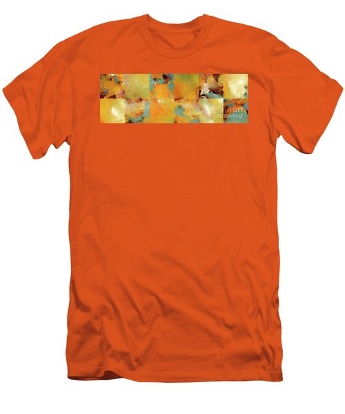 Sunset Abstract Tiles. Modern Mosaic Tile Art Painting Men's T-Shirt (Slim Fit) by Mark Lawrence