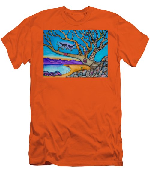Men's T-Shirt (Slim Fit) featuring the painting The Kiss And Love Is All There Is by Lori Miller