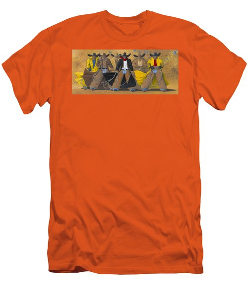 Men's T-Shirt (Slim Fit) featuring the painting The Posse by Lance Headlee